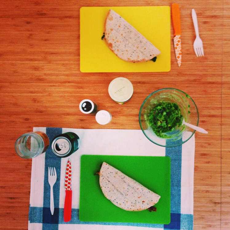 dinner on cutting boards